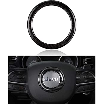 Carbon Fiber Steering Wheel Decor Frame Cover Trim For Jeep Grand Cherokee 14-19