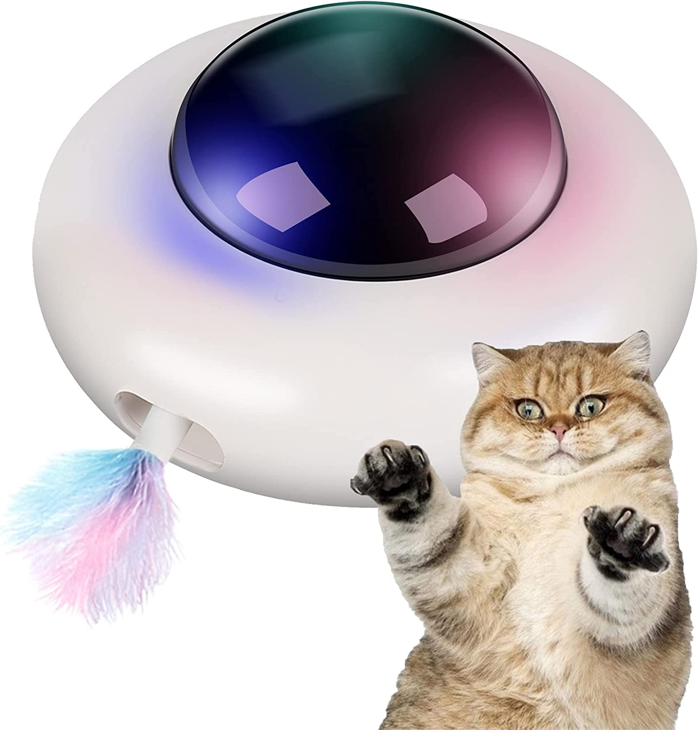Lylyzoo Cat Toys for Indoor Cats Feather UFO Interactive Toy sale K