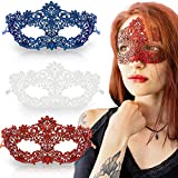 Masquerade Mask for Women Premium Set - 3 Unique Luxury Pcs Red Blue and White Girl Lace Eye Venetian Mask for Fancy Party Costume Supplies Ball Prom Festival Carnival Mardi Gras Halloween Anniversary