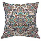 Moslion Bohemian Throw Pillow Cover Indian Floral Paisley Medallion Pattern Retro Ethnic Mandala Ornament 24x24 Inch Square Pillow Case Cushion Cover for Home Car Decorative Cotton Linen