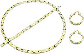 2 Tone Hugs & Kisses Necklace Bracelet Earring Set Gold & Silver 20