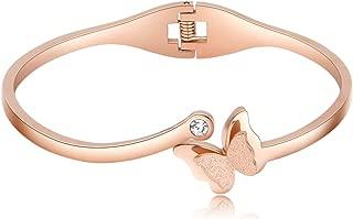 Women Bracelet   Stainless Steel Butterfly Classic Bangle Titanium Steel   Rose Gold