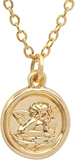 14K Yellow Gold Religious Medallion Pendants in 14K Gold DC Cable Chain Necklace -18