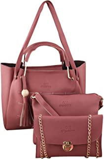 PU Leather Latest Trendy Fashion Ladies Top Handle Handbag With Sling Bag Shoulder Bag & Clutch 3pice Combo Purse Set For ...