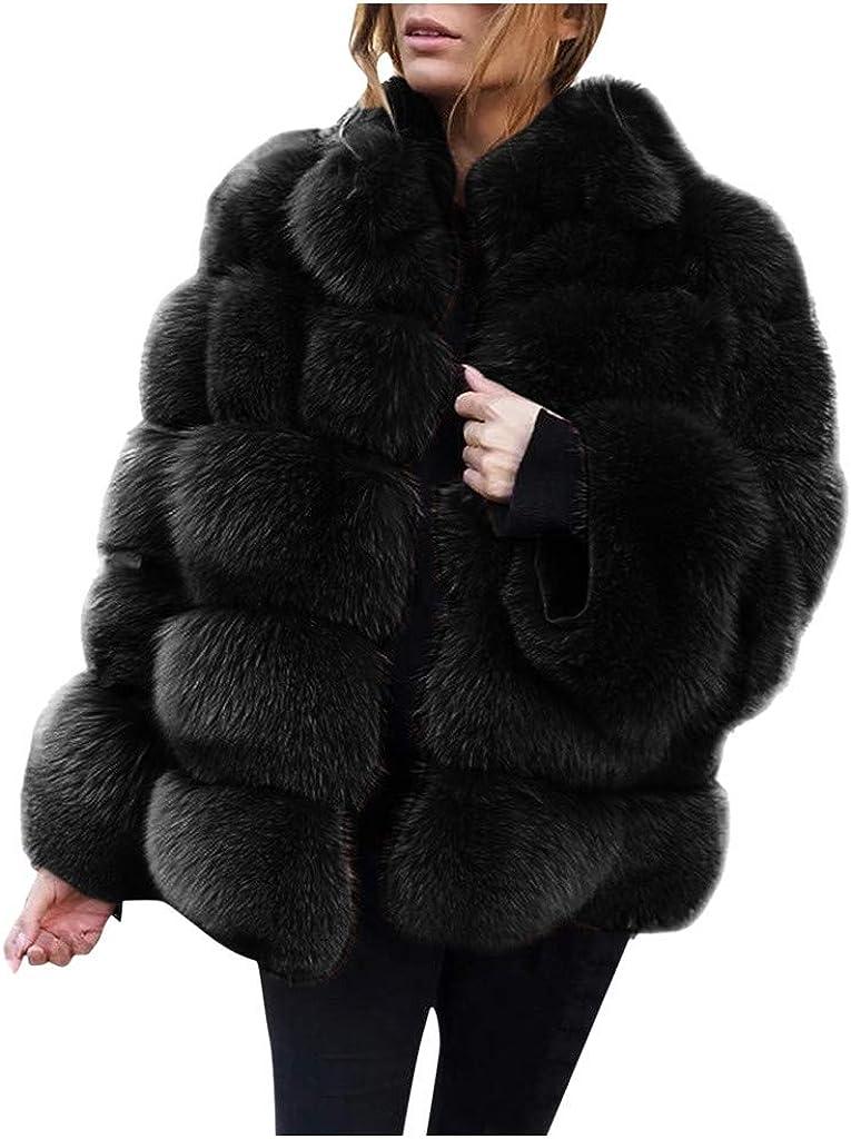 VEZAD Store Women Winter Furs Coat Luxury Faux Fox Fur Jacket Slim Long Sleeve Collar Overcoat