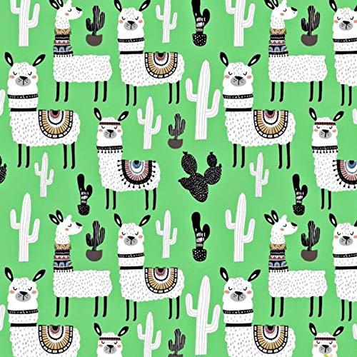 Pingianer 11,99€/m Lama 100{72d368c0dfd16aa214d946cfdd9faf19564c727a6b4a8f981e95967926e755aa} Baumwolle Baumwollstoff Kinder Meterware Handwerken Nähen Stoff (Hase Mond Herz Weiß) (Lama Kaktus Grün, 100x160cm (11,99€/m))