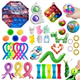42 Pack Sensory Pop Fidget Packs Mini Keychain Pop Toys Boys Girls Autism ADHD Stress Relief and Anti-Anxiety Toys Assortment