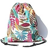 Alpaca Go Drawstring Bag Water Resistant Floral Leaf Lightweight Gym Sackpack for Hiking Yoga Gym Swimming Travel Beach (D - Blue)