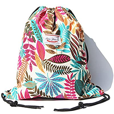 Drawstring Bag Water Resistant Floral Leaf Lightweight Gym Sackpack for Hiking Yoga Gym Swimming Travel Beach