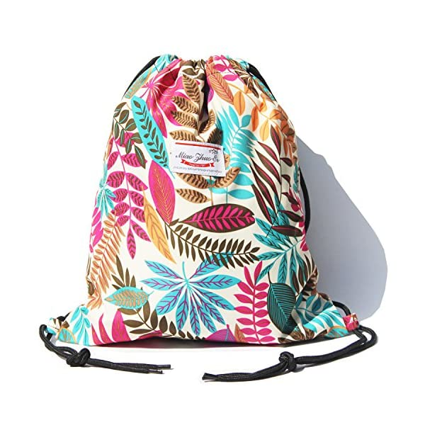 Drawstring Bag Water Resistant Floral Leaf Lightweight Gym Sackpack for Hiking Yoga Gym Swimming Travel Beach 3