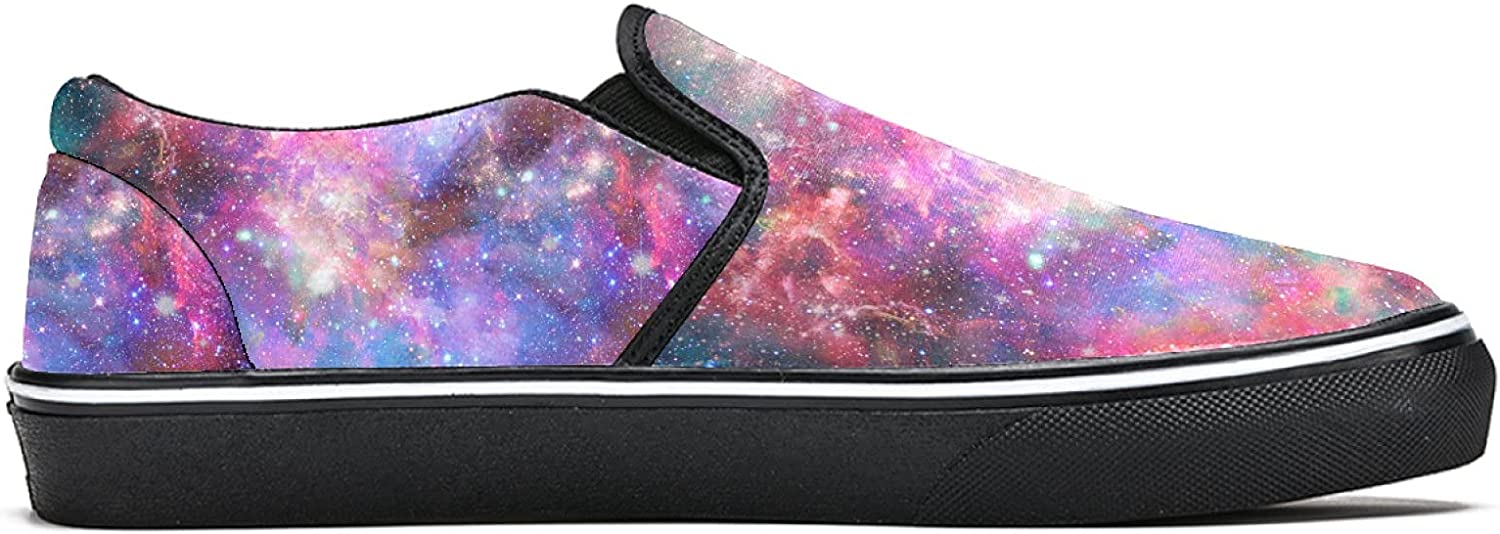 Men's Classic Slip-on Canvas Shoe Fashion Sneaker Casual Walking Shoes Loafers 13 Outer Space Nebula Stars