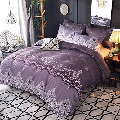 Duvet cover and pillowcase bedding quilt cover double room king-size bed-lace violet