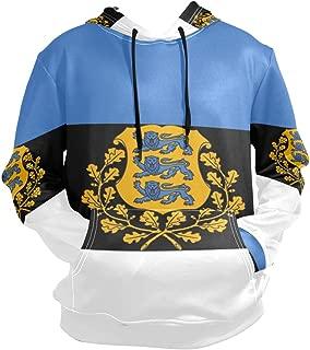 Men's Graphic Hoodie Hooded Sweatshirt Estonia Flag National Emblem