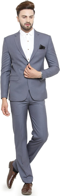 LUXURAZI Menâ s Grey Raymond Sapphire Terry Wool 2 Piece Suit
