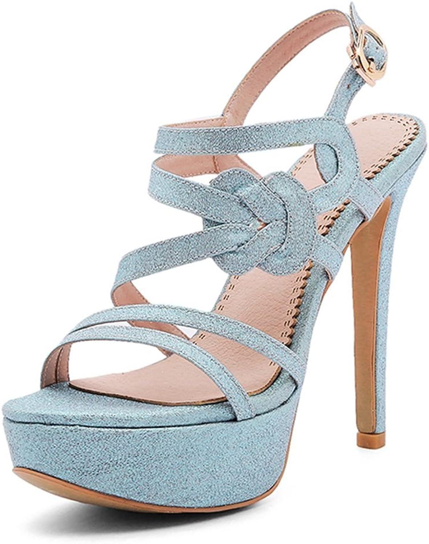 SaraIris Women Heeled Sandals Glitter Platform Stiletto Heels Ankle Strap for Summer