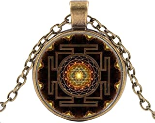 Pendant Elegant Mandala Glass Dome Necklace Fashion Buddhist Sacred Geometry Jewelry,Colour:Bronze (Color : Silver)