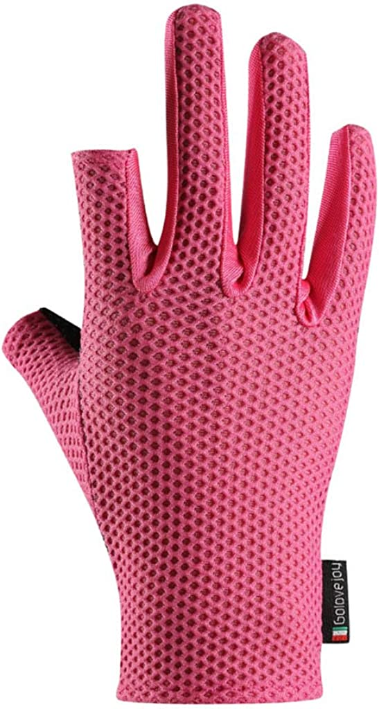 Unisex Gloves for Ice Silk Cycling 2 Cut Fingers UV Protection Anti-Slip Touchscreen Texting Glove for Men or Women