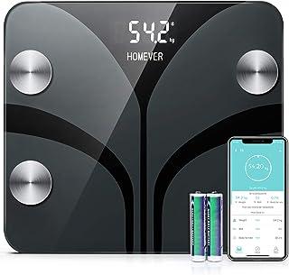 Bascula de Baño Digital Grasa Corporal, HOMEVER Báscula Inteligente Bluetooth con App, Puede Detectar 13 Composiciones Corporales, Peso Corporal, Porcentaje de Grasa Crporal, BMI, BRM, Masa Muscular