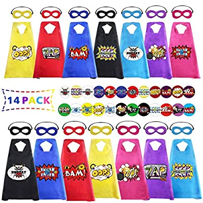 Capes and Masks for Kids Bulk 14 Pack with Stickers, Superhero Capes Themed Birthday Party Halloween DIY Dress Up, Children Cartoon Heros Costumes Gift