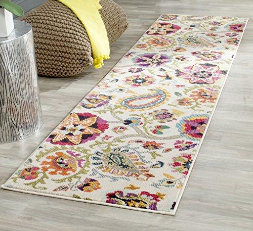 Safavieh Gewaschener Teppich zeitgenössisches Muster, MNC229, Gewebter Polypropylen Läufer, Elfenbein / Mehrfarbig, 62 x 240 cm