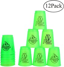 Bestie-Gear Quick Stacks Cups, Sports Stacking Cups Speed Training Set of 12 with Carry Bag (Green)