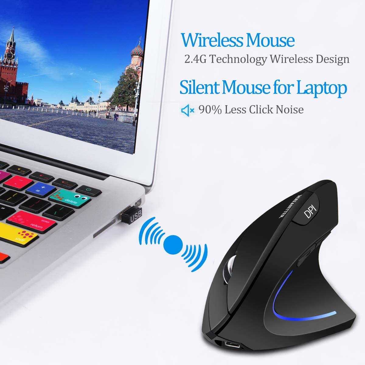 More&Better Wireless Vertical Mouse 2.4G USB Rechargeable Ergonomic Optical Computer Mouse, Black