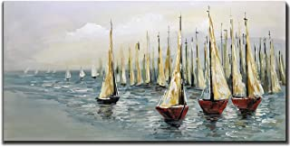 V-inspire Paintings,24x48 Inch Oil Hand Painting Sailing Boat on Blue Sea Warm Color Painting Style Home Decoration Wood Inside Framed Ready to Hang