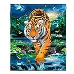 "Dawhud Direct Super Soft Full/Queen Size Fleece Blanket, 75"" x 90"" (Moonlight Tiger)"