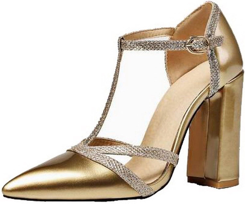 Allhqmode Woherrar Pu Pu Pu point -Toe High -klackar Buckle Assorted Färg Sandals, FBULD014642  online billigt
