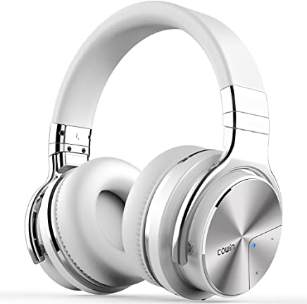 COWIN E7 PRO [2018 Upgraded] Active Noise Cancelling Headphone Bluetooth Headphones with Microphone Hi-Fi Deep Bass Wireless Headphones Over Ear 30H Playtime for Travel Work TV Computer Phone - White