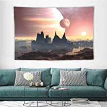 Alisoso FantasyBeach Tapestry Twin Moons Over Planet Europa Apocalypse Armageddon Deserted Landscape Tapestry Wall Hangings W72 x L54 inch