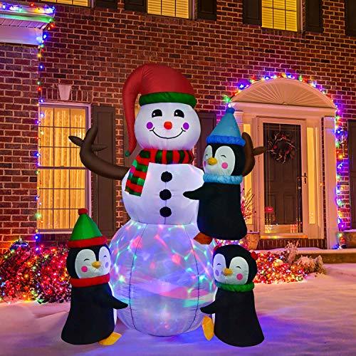 CJFHBVUQ XXL Schneemann aufblasbar mit integr. Gebläse & 4 LEDs, Weihnachtsdeko beleuchtet IP44, Winterdeko für Außen mit 4 Heringe & 2 Seile