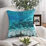 Decorativo cojín de Cubierta Suave Bajo el Azul del Agua Panorama de la Escena Deep Rizado de color Turquesa de la Profundidad de Texturas Líquido Submarino Celebridades 20'x20'
