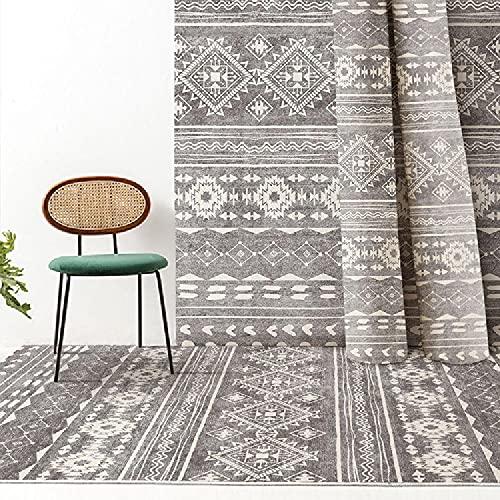 Alfombra Alfombra Dormitorio Juvenil Alfombra geométrica Retro Amarilla Gris fácil de Limpiar. alfombras para escaleras habitacion Infantil 80*160cm