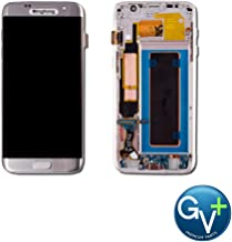 Group Vertical Replacement Complete Frame AMOLED Touch Digitizer Screen Assembly Compatible with Samsung Galaxy S7 Edge - Silver Titanium (SM-G935A) (GV+ Performance)