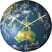 Luminous Oceania Area Shape Wall Clock Battery Powered Hanging Clock Glow in The Dark for School Office Kitchen No Battery...