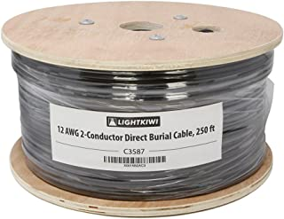 Lightkiwi C3587 12AWG 2-Conductor 12/2 Direct Burial Wire for Low Voltage Landscape Lighting, 250ft