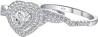 Newshe خواتم الزفاف للنساء خاتم الخطوبة مجموعات الفضة الاسترليني تشيكوسلوفاكيا 1.7Ct شكل قلب الحجم 5-10
