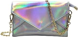 RARITYUS Hologram Evening Bag Large Envelop Clutch Handbag Shoulder Shiny Party Purse with Chain Strap for Women Girls