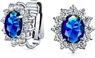 Fashion Oval Cubic Zirconia Statement Halo Crown AAA CZ Stud Clip On Earrings For Women Silver Plated Brass More Colors
