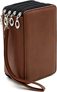 BTSKY PU Leather Colored Pencil Case with Compartments-72 Slots Handy Pencil Bags Large for Watercolor Pencils, Gel Pens and Ordinary Pencils (Brown)
