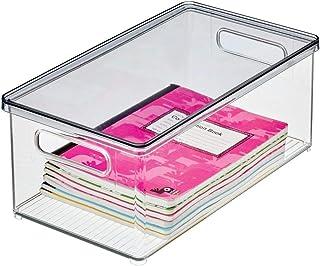 mDesign boîte de rangement pour le bureau – bac de rangement ouvert en plastique robuste – boîte plastique avec couvercle ...