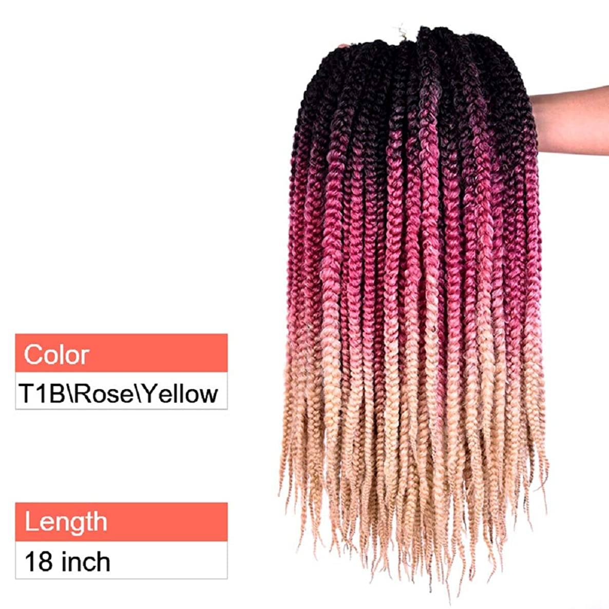 PAPWOO Box Braid Crochet Hair 18 inch 6 Packs/Set 12 Roots/Pack Synthetic Fiber African American Ombre Twist Micro Braiding Hair Bulk Wig For Women (T1B/Rose Yellow)