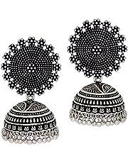 Preyans from jaipur mart women's traditional silver plated oxidised jhumki earrings (GSE247SLV)