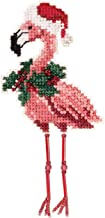Holiday Flamingo Beaded Counted Cross Stitch Ornament Kit Mill Hill 2019 Winter Holiday MH181935