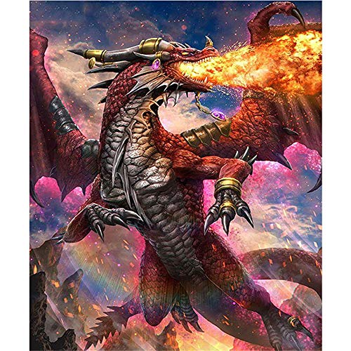 DIY Oil Paint by Number Kit for Adults Beginner 16x20 Inch - Fire Dragon,Drawing with Brushes Christmas Decor Decorations Gifts (Frameless)