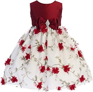 Crayon Kids Girls Red White Flower Brooch Bow Special Occasion Dress 5-10