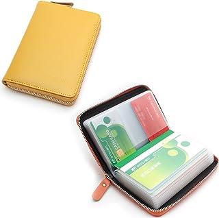 通帳ケース RFID盗難防止 磁気遮断 本革製 (イエロー)