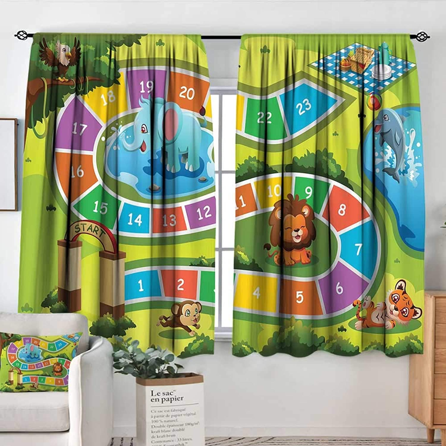Elliot Dgoldthy Rod Pocket Curtains Kids Activity,Picnic in The Forrest colorful Pathway to The Blanket with Friendly Animals,Multicolor,for Room Darkening Panels for Living Room, Bedroom 42 x63