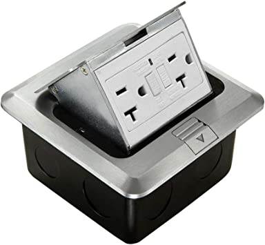 Pop Up Floor Electrical Outlet Kitchen Countertop Ul Listed Pop Out Gfci Receptacle Box Cover With Waterproof Socket 20a Silver Amazon Com
